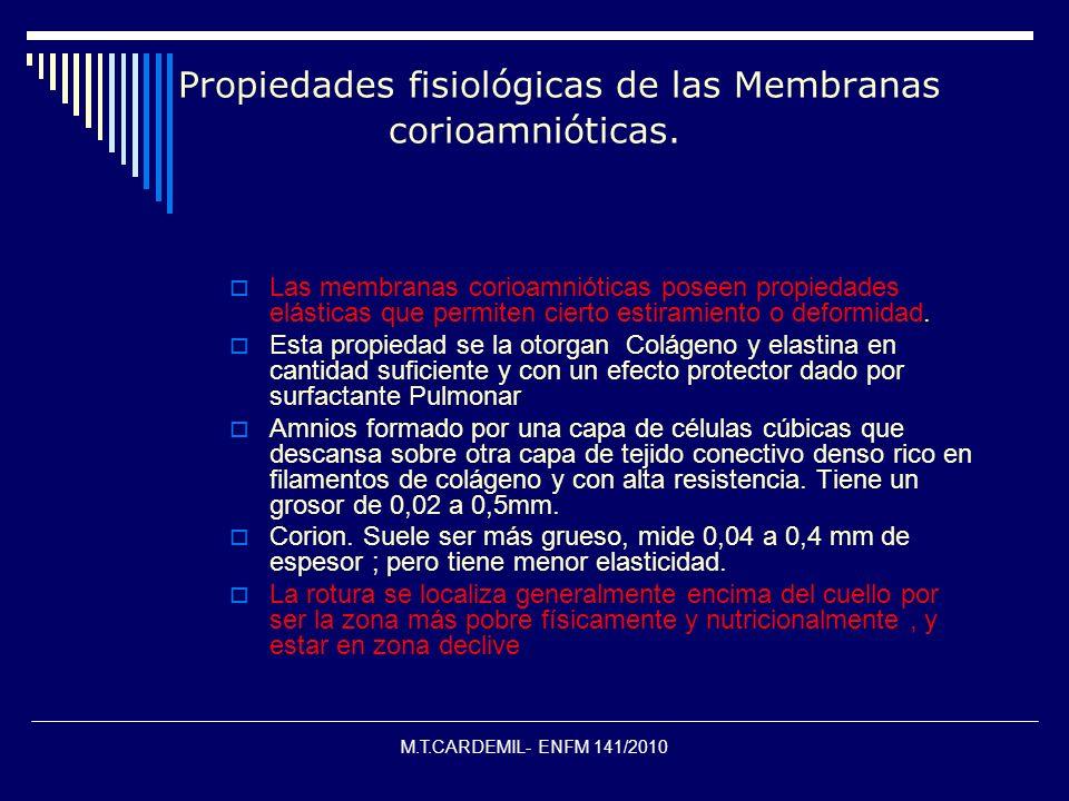 M.T.CARDEMIL- ENFM 141/2010 Propiedades fisiológicas de las Membranas corioamnióticas. Las membranas corioamnióticas poseen propiedades elásticas que