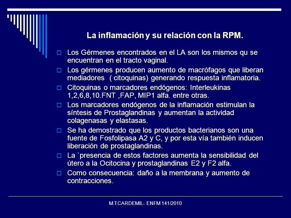 M.T.CARDEMIL- ENFM 141/2010 La inflamación y su relación con la RPM. Los Gérmenes encontrados en el LA son los mismos qu se encuentran en el tracto va