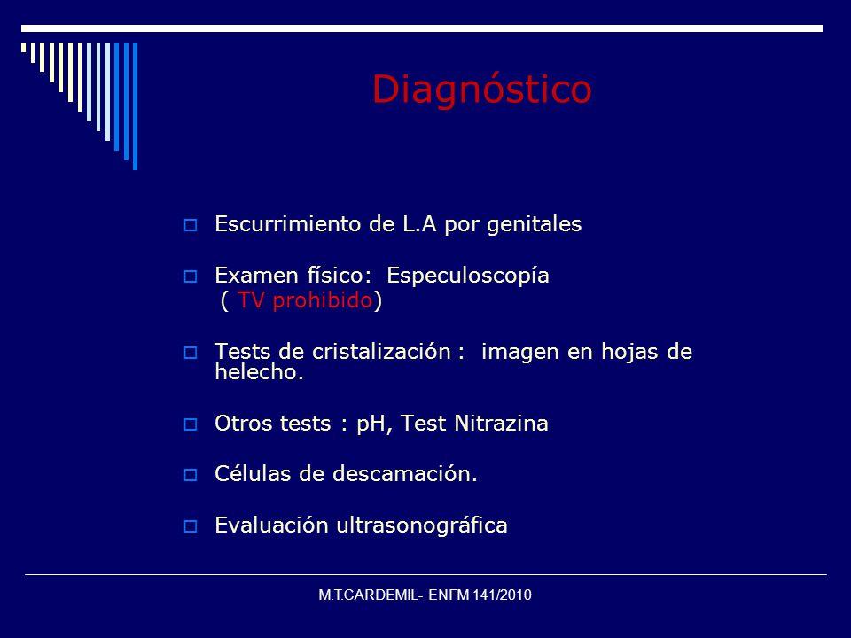M.T.CARDEMIL- ENFM 141/2010 Diagnóstico Escurrimiento de L.A por genitales Examen físico: Especuloscopía ( TV prohibido) Tests de cristalización : ima