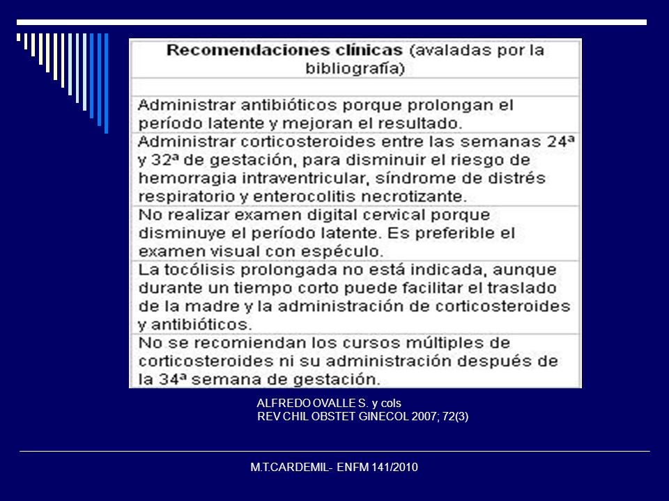 M.T.CARDEMIL- ENFM 141/2010 ALFREDO OVALLE S. y cols REV CHIL OBSTET GINECOL 2007; 72(3)