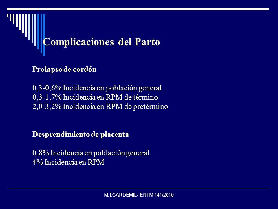 M.T.CARDEMIL- ENFM 141/2010 Prolapso de cordón 0,3-0,6% Incidencia en población general 0,3-1,7% Incidencia en RPM de término 2,0-3,2% Incidencia en R