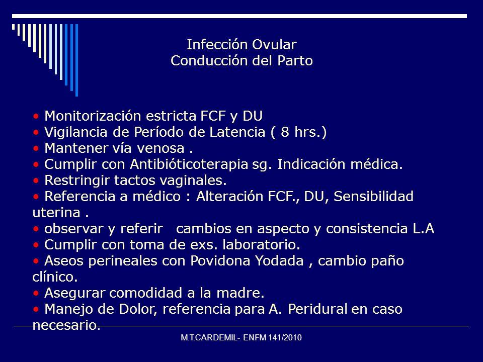 M.T.CARDEMIL- ENFM 141/2010 Infección Ovular Conducción del Parto Monitorización estricta FCF y DU Vigilancia de Período de Latencia ( 8 hrs.) Mantene