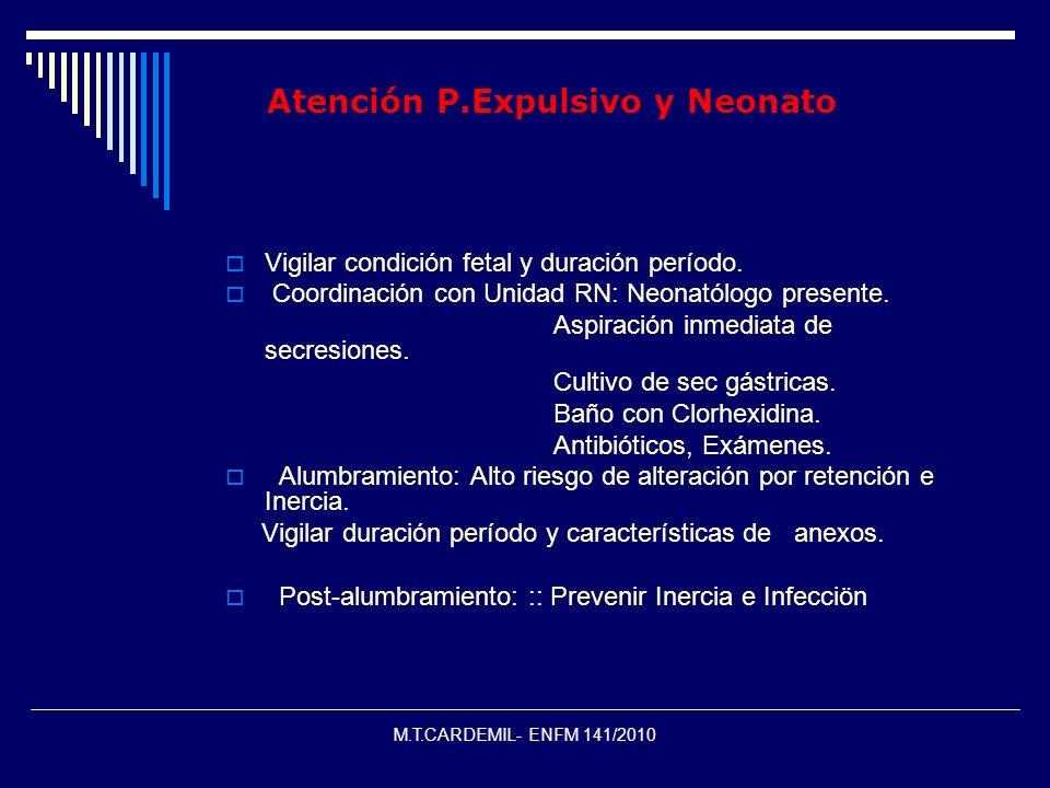 M.T.CARDEMIL- ENFM 141/2010 Atención P.Expulsivo y Neonato Vigilar condición fetal y duración período. Coordinación con Unidad RN: Neonatólogo present