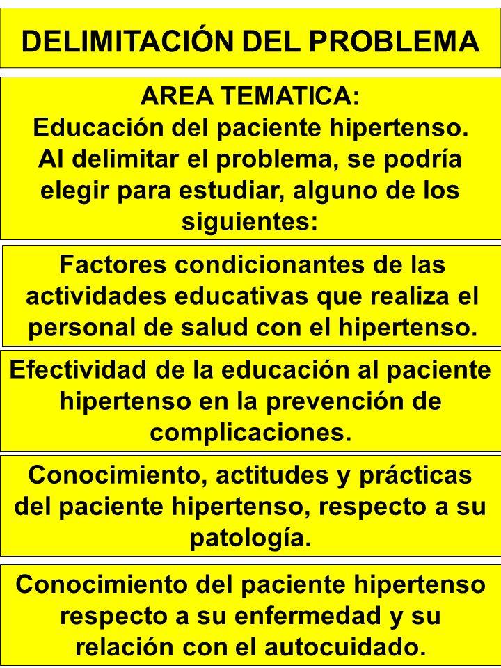 DELIMITACIÓN DEL PROBLEMA AREA TEMATICA: Educación del paciente hipertenso.