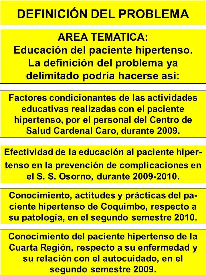 DEFINICIÓN DEL PROBLEMA AREA TEMATICA: Educación del paciente hipertenso.