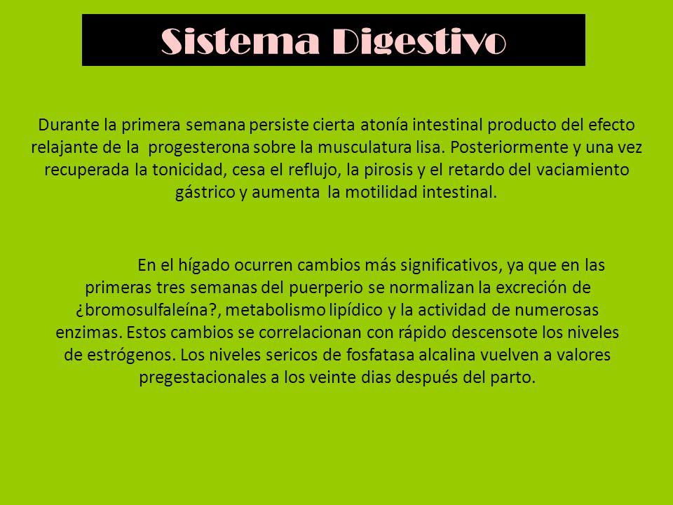 Durante la primera semana persiste cierta atonía intestinal producto del efecto relajante de la progesterona sobre la musculatura lisa. Posteriormente