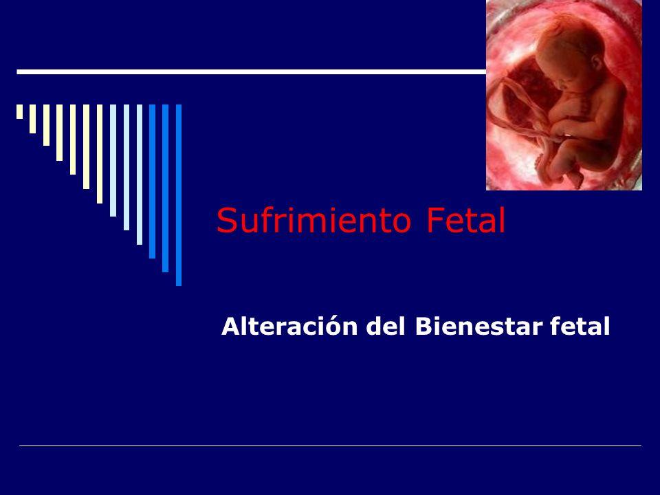 Sufrimiento Fetal Fisiopatología Reducción de intercambios Feto-maternos CO 2 O2O2 Hidrogeniones Hipercapnia Acidosis Gaseosa Hipoxia Glucólisis Anaeróbica Acidosis Metabólica