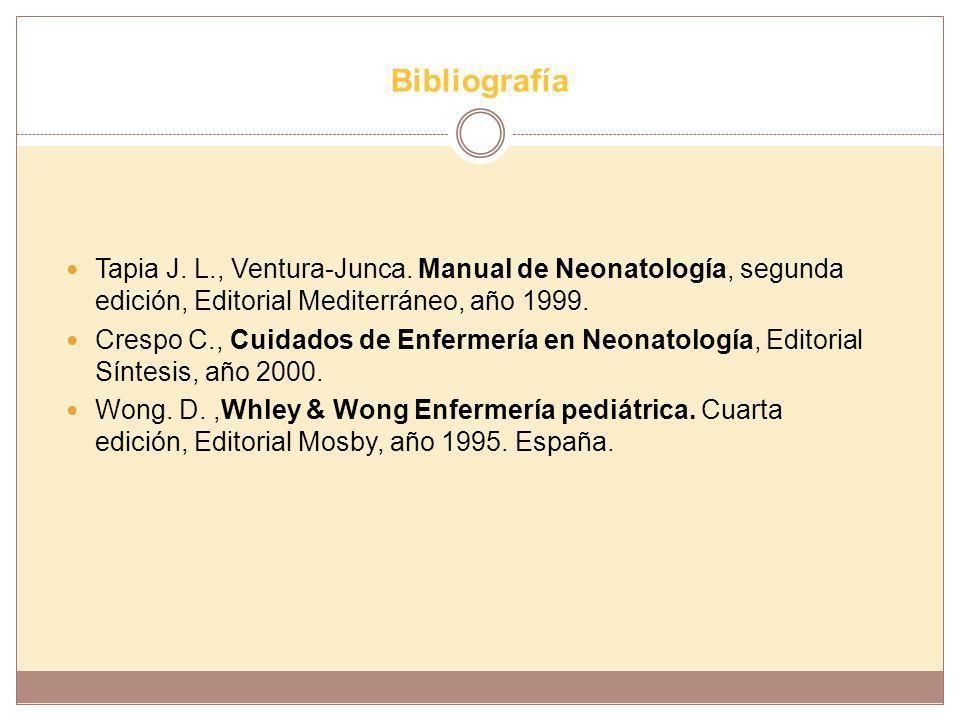Bibliografía Tapia J. L., Ventura-Junca. Manual de Neonatología, segunda edición, Editorial Mediterráneo, año 1999. Crespo C., Cuidados de Enfermería