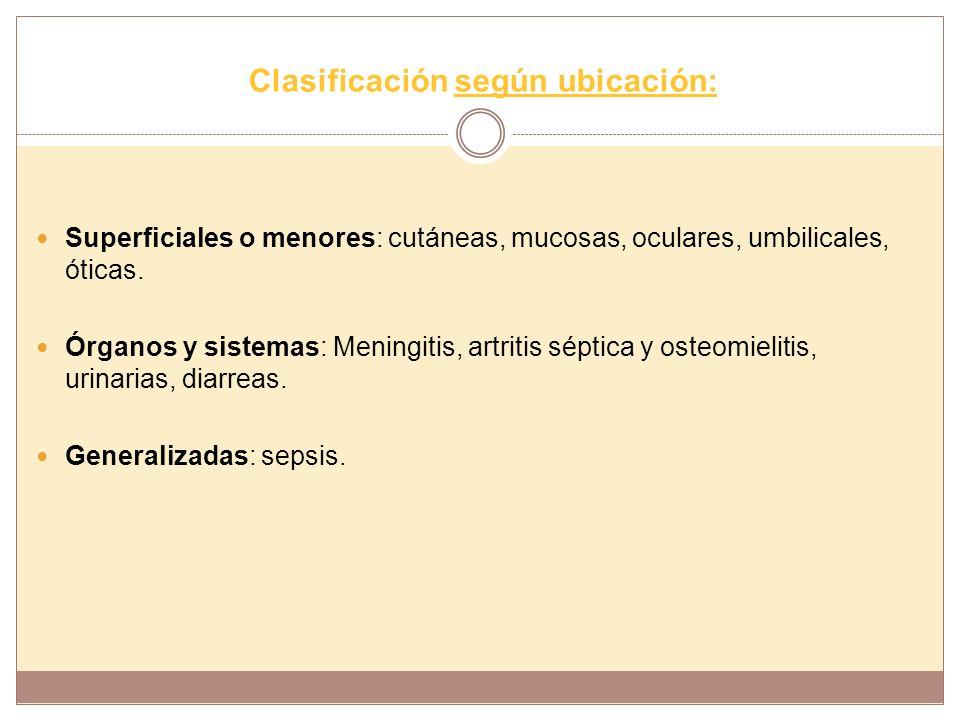 Clasificación según ubicación: Superficiales o menores: cutáneas, mucosas, oculares, umbilicales, óticas. Órganos y sistemas: Meningitis, artritis sép