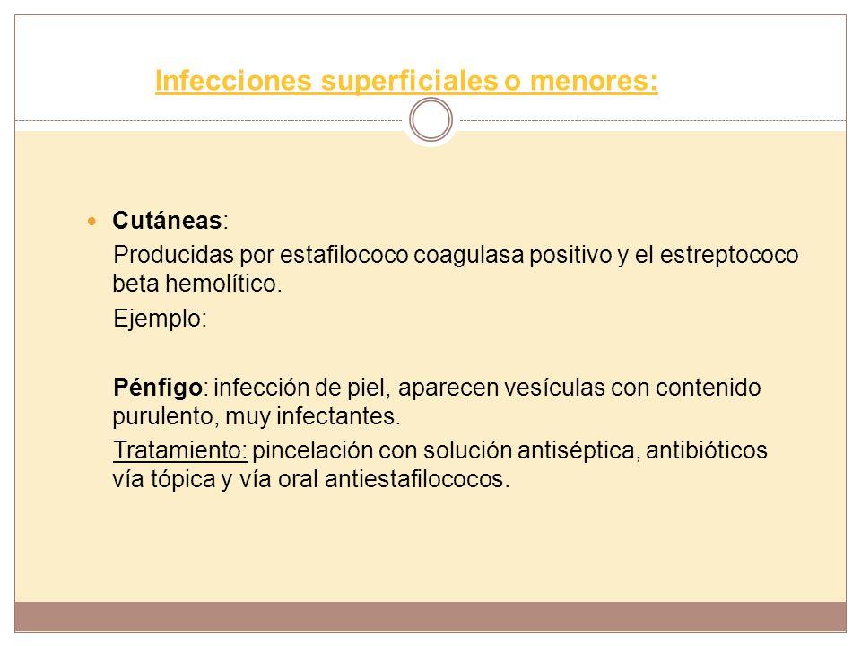 Infecciones superficiales o menores: Cutáneas: Producidas por estafilococo coagulasa positivo y el estreptococo beta hemolítico. Ejemplo: Pénfigo: inf