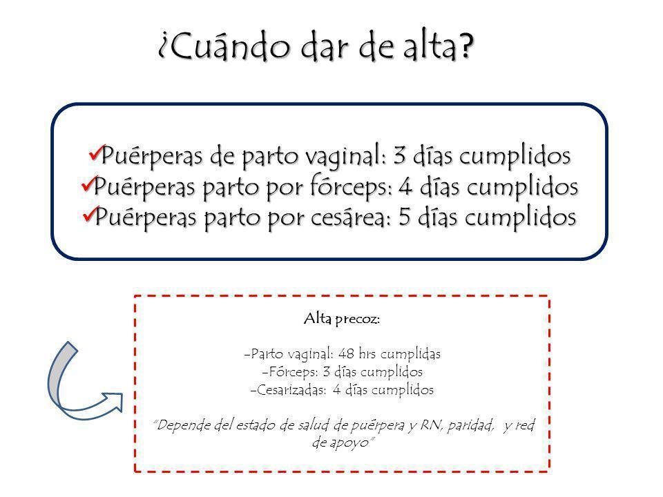 -Activa/o -Termorregulando -Vigilia y reposo en regulación -Examen pediátrico normal -Madre vinculada -Lactancia eficaz -Orina y deposiciones normales -Vacuna BCG -Pérdida de peso menor del 10% -Exámenes tomados -Activa y de buen ánimo -Vinculada con su RN -Lactancia eficaz -Evidencia conocimientos sobre : Cuidado de mamas Mantención -Involución uterina normal -Loquios normales -Episiorrafia/Laparorrafia en buen estado, sin signos de infección -Puede hacer reposo en casa -Conoce medidas de urgencia -Accesibilidad al centro de salud