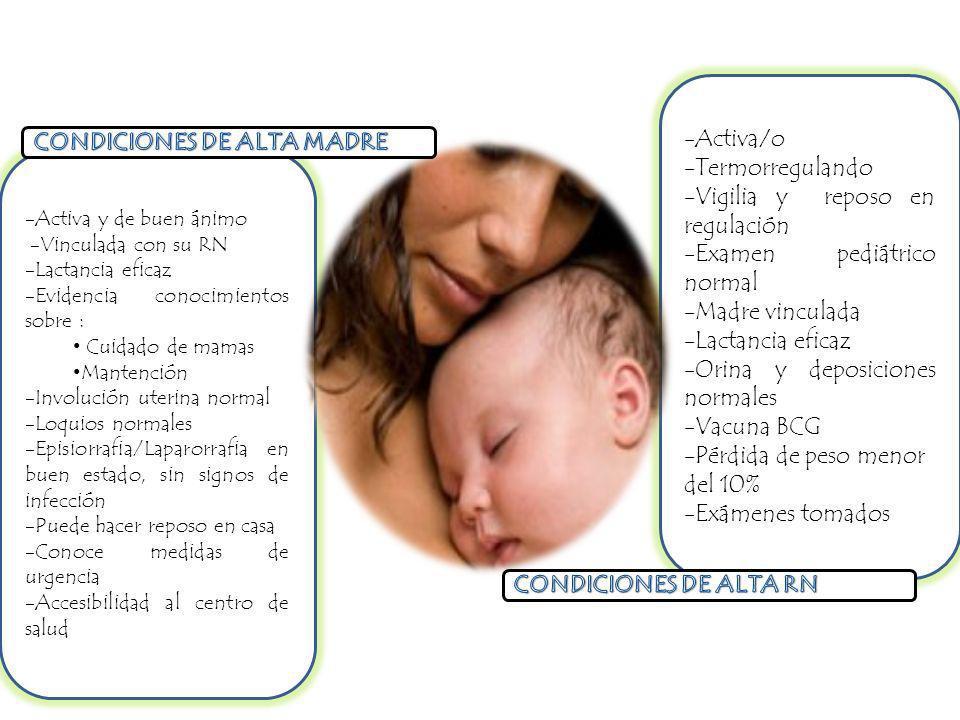 -Activa/o -Termorregulando -Vigilia y reposo en regulación -Examen pediátrico normal -Madre vinculada -Lactancia eficaz -Orina y deposiciones normales