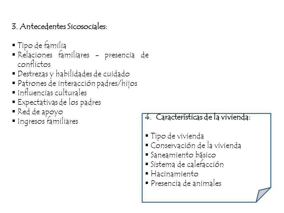 3. Antecedentes Sicosociales: Tipo de familia Relaciones familiares - presencia de conflictos Destrezas y habilidades de cuidado Patrones de interacci