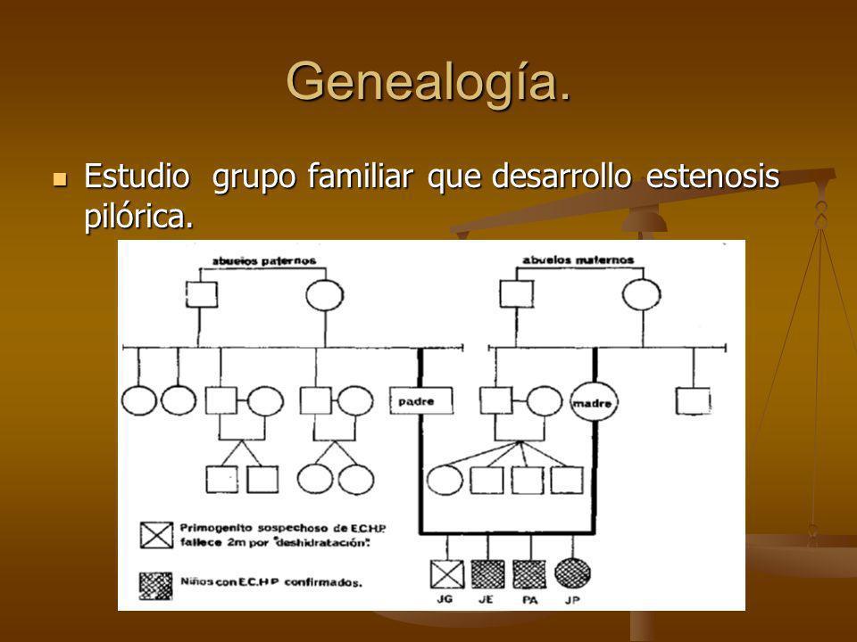 Genealogía. Estudio grupo familiar que desarrollo estenosis pilórica. Estudio grupo familiar que desarrollo estenosis pilórica.