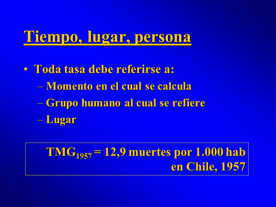 Tiempo, lugar, persona Toda tasa debe referirse a:Toda tasa debe referirse a: –Momento en el cual se calcula –Grupo humano al cual se refiere –Lugar T