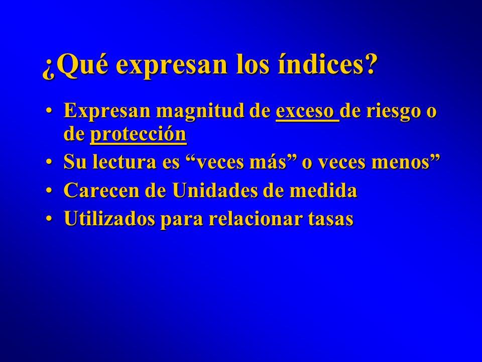 ¿Qué expresan los índices? Expresan magnitud de exceso de riesgo o de protecciónExpresan magnitud de exceso de riesgo o de protección Su lectura es ve