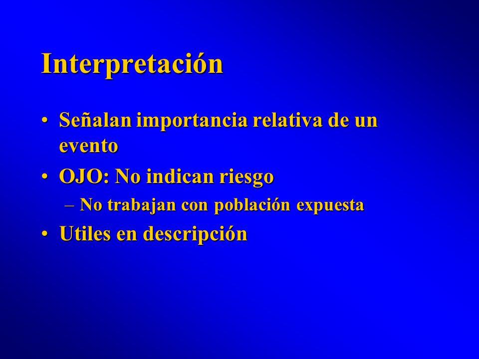 Interpretación Señalan importancia relativa de un eventoSeñalan importancia relativa de un evento OJO: No indican riesgoOJO: No indican riesgo –No tra