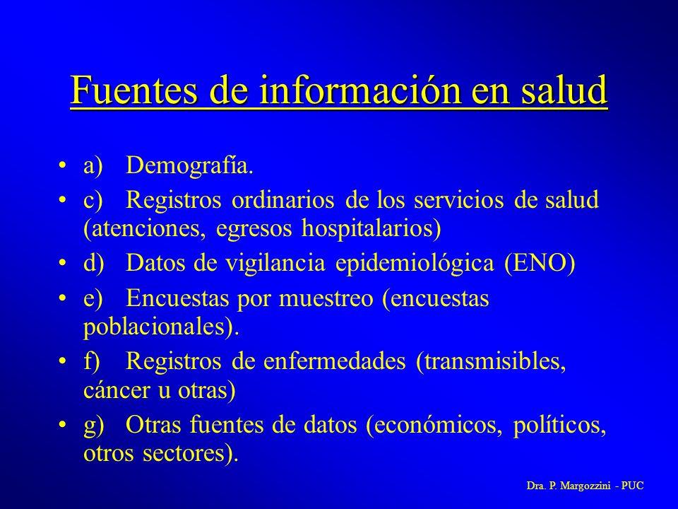 Fuentes de información en salud a)Demografía. c)Registros ordinarios de los servicios de salud (atenciones, egresos hospitalarios) d)Datos de vigilanc