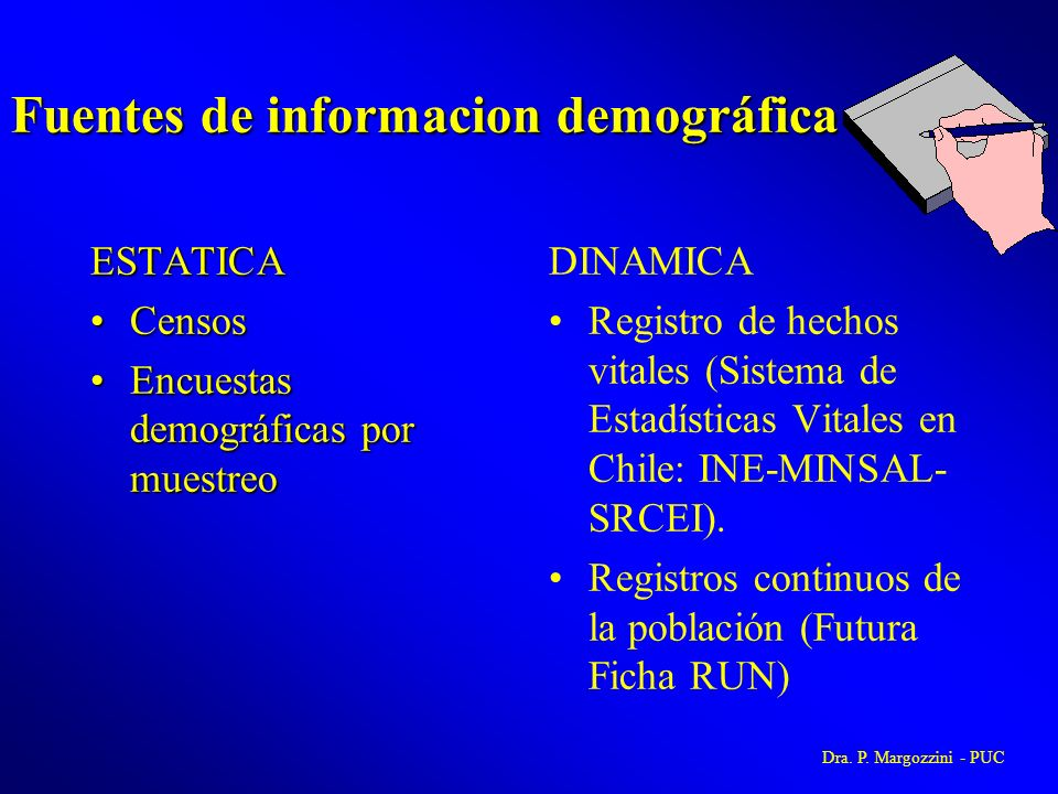 Fuentes de informacion demográfica ESTATICA CensosCensos Encuestas demográficas por muestreoEncuestas demográficas por muestreo DINAMICA Registro de h