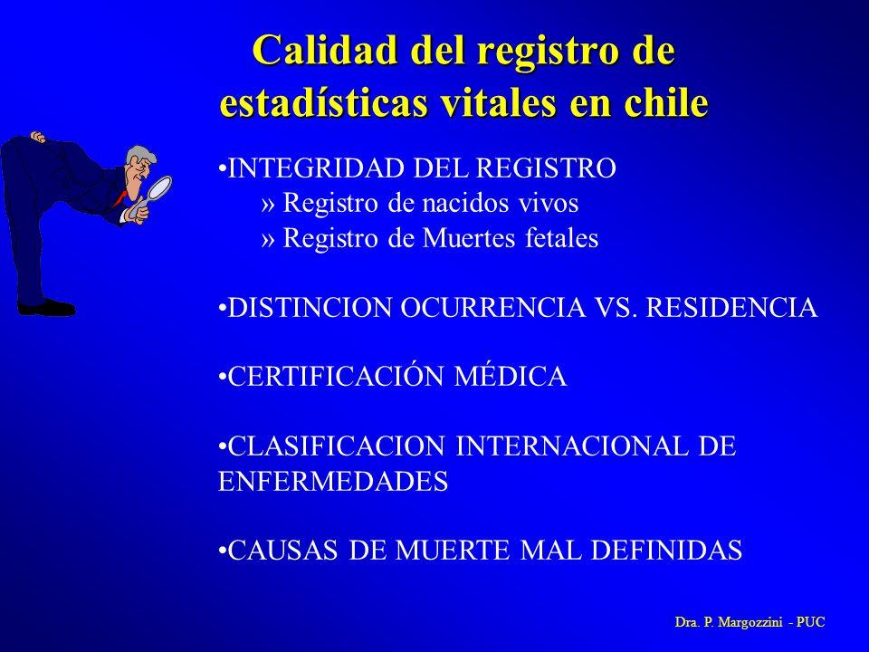 Calidad del registro de estadísticas vitales en chile INTEGRIDAD DEL REGISTRO » Registro de nacidos vivos » Registro de Muertes fetales DISTINCION OCU
