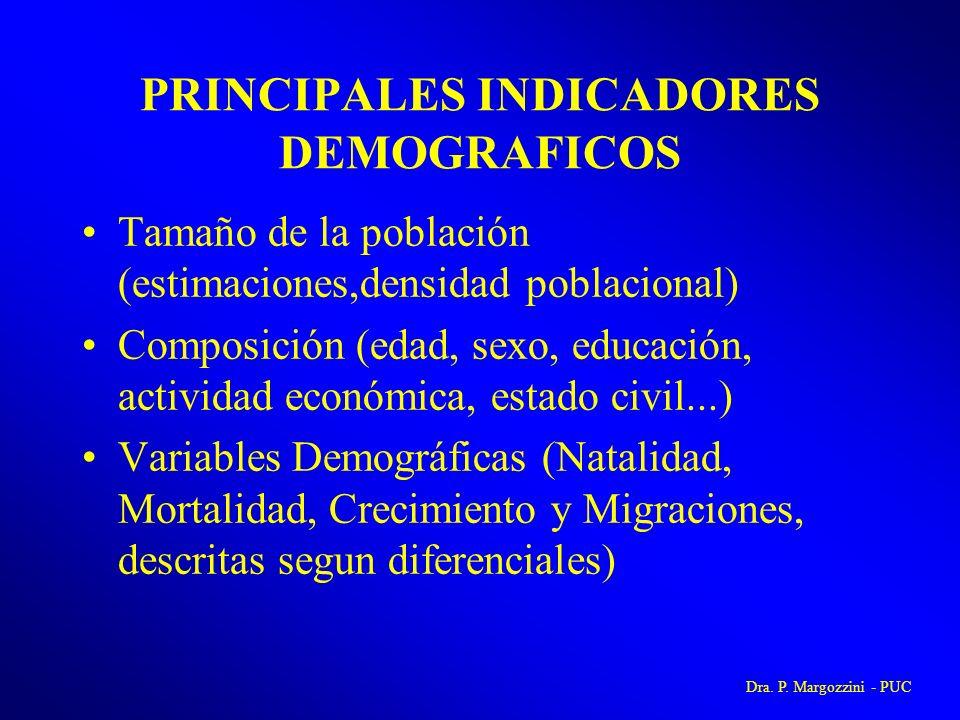PRINCIPALES INDICADORES DEMOGRAFICOS Tamaño de la población (estimaciones,densidad poblacional) Composición (edad, sexo, educación, actividad económic