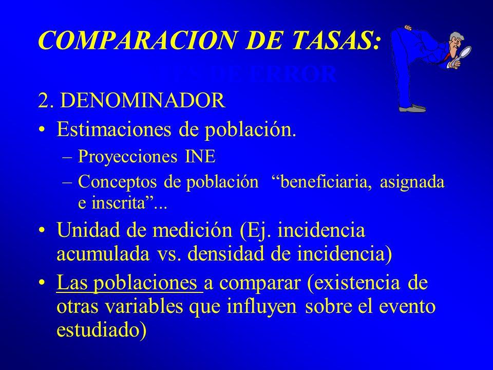 COMPARACION DE TASAS: FUENTES DE ERROR 2. DENOMINADOR Estimaciones de población. –Proyecciones INE –Conceptos de población beneficiaria, asignada e in