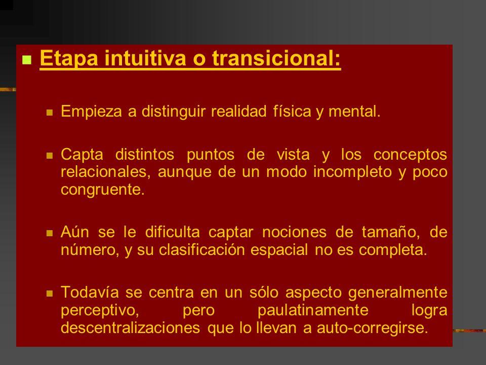 Etapa intuitiva o transicional: Empieza a distinguir realidad física y mental. Capta distintos puntos de vista y los conceptos relacionales, aunque de