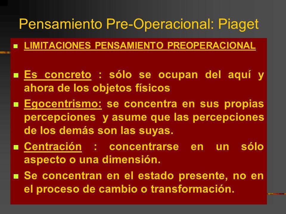 Pensamiento Pre-Operacional: Piaget LIMITACIONES PENSAMIENTO PREOPERACIONAL Es concreto : sólo se ocupan del aquí y ahora de los objetos físicos Egoce