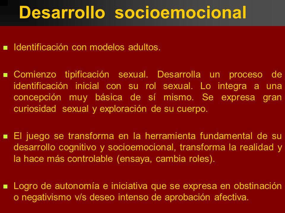 Desarrollo socioemocional Identificación con modelos adultos. Comienzo tipificación sexual. Desarrolla un proceso de identificación inicial con su rol