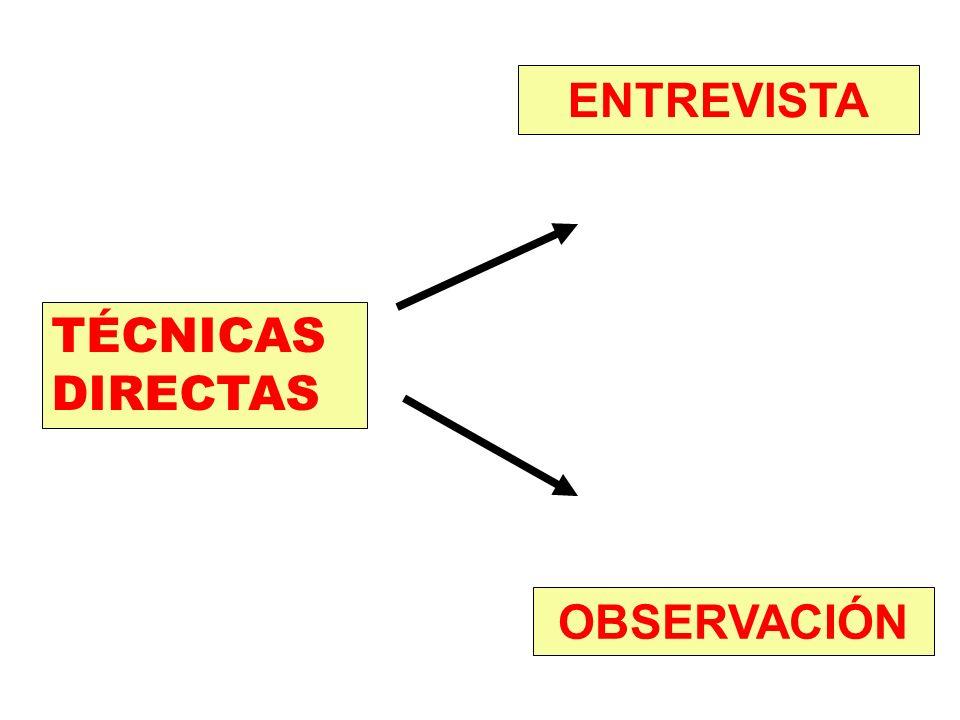 TÉCNICAS INDIRECTAS REVISIÓN DE DOCUMENTOS YA EXISTENTES CUESTIONARIO SIN ENTREVISTADOR