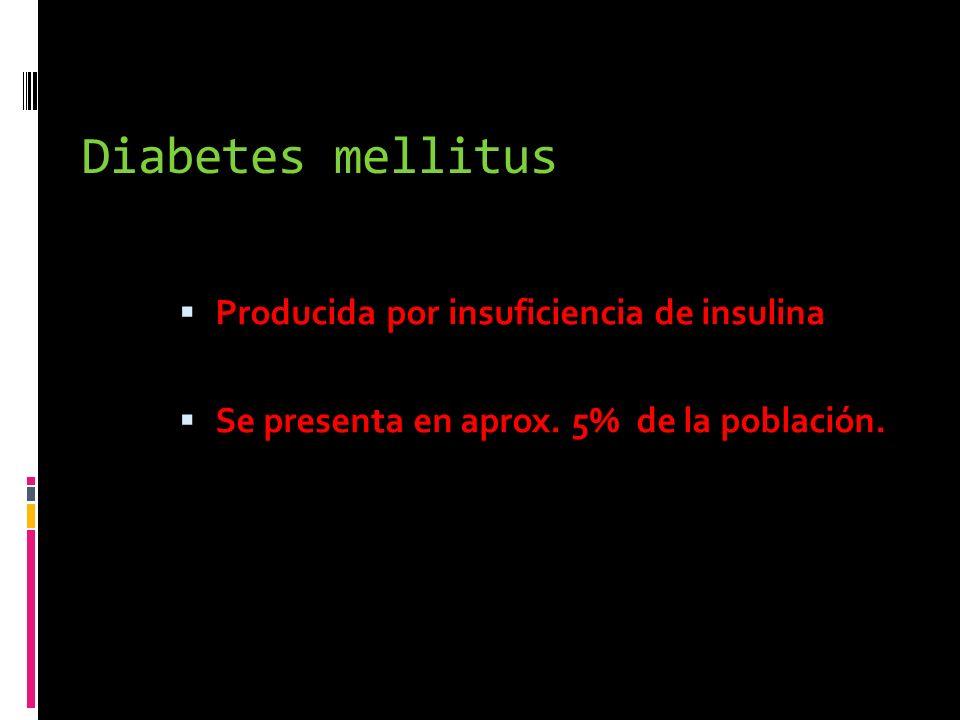 Diabetes mellitus Producida por insuficiencia de insulina Se presenta en aprox. 5% de la población.