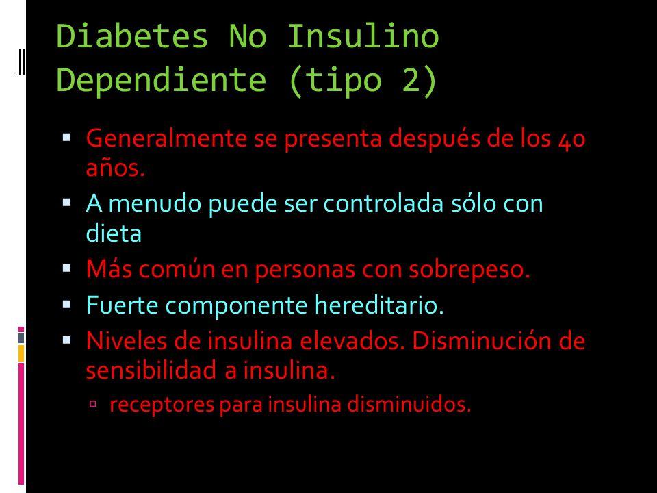 Diabetes No Insulino Dependiente (tipo 2) Generalmente se presenta después de los 40 años. A menudo puede ser controlada sólo con dieta Más común en p