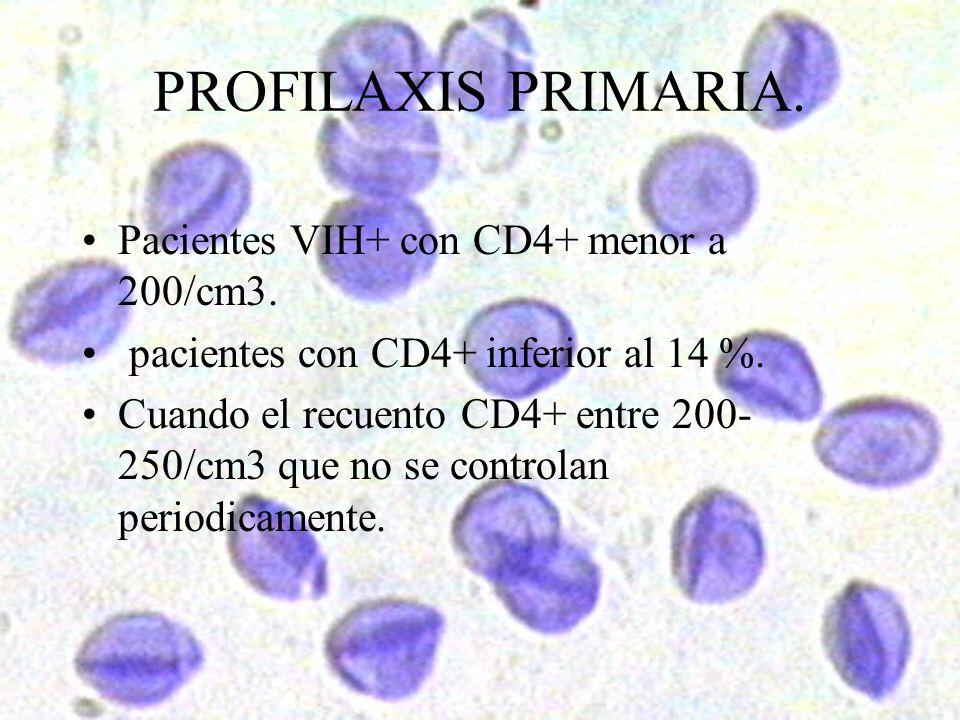 PROFILAXIS PRIMARIA. Pacientes VIH+ con CD4+ menor a 200/cm3. pacientes con CD4+ inferior al 14 %. Cuando el recuento CD4+ entre 200- 250/cm3 que no s