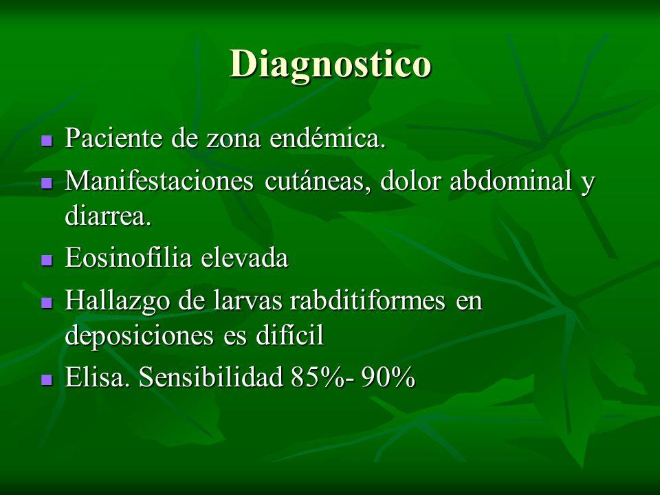 Diagnostico Paciente de zona endémica. Paciente de zona endémica. Manifestaciones cutáneas, dolor abdominal y diarrea. Manifestaciones cutáneas, dolor