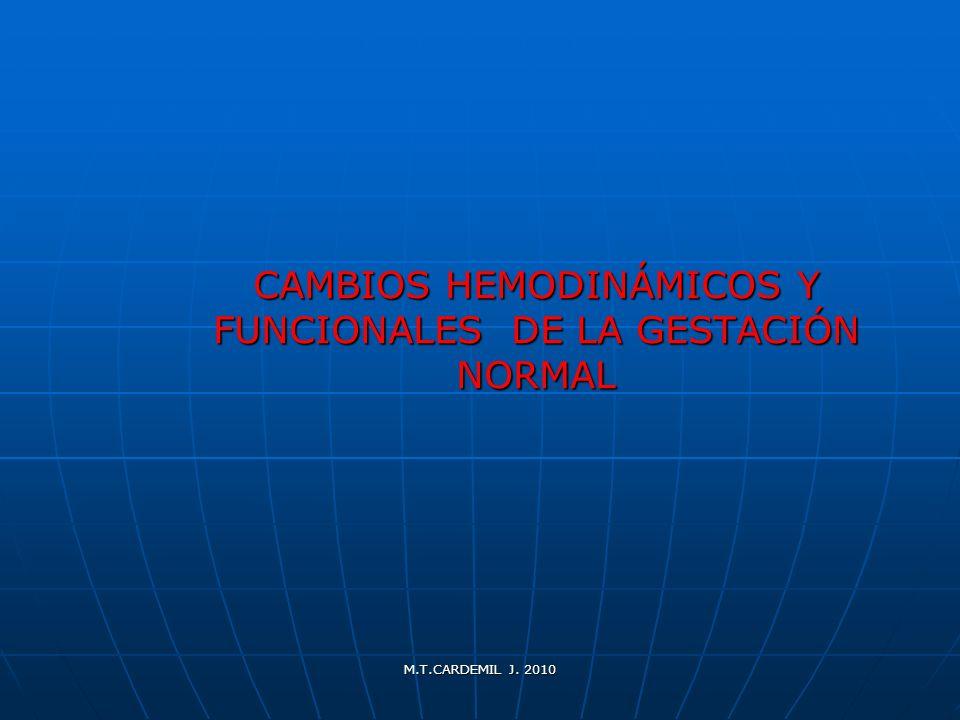 M.T.CARDEMIL J. 2010 CAMBIOS HEMODINÁMICOS Y FUNCIONALES DE LA GESTACIÓN NORMAL