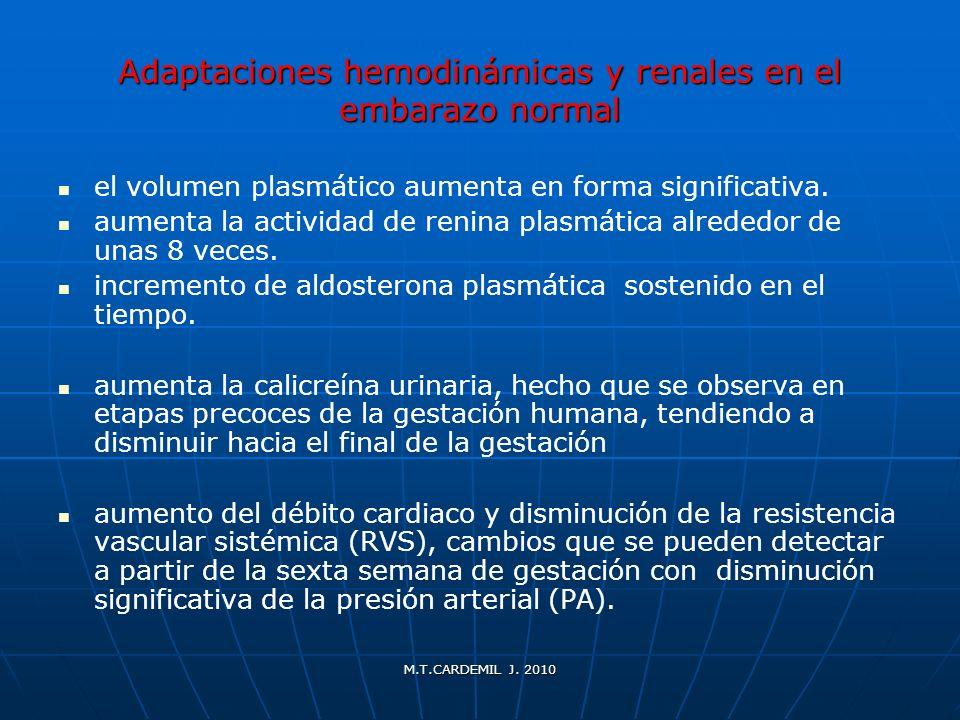 M.T.CARDEMIL J. 2010 Adaptaciones hemodinámicas y renales en el embarazo normal el volumen plasmático aumenta en forma significativa. aumenta la activ