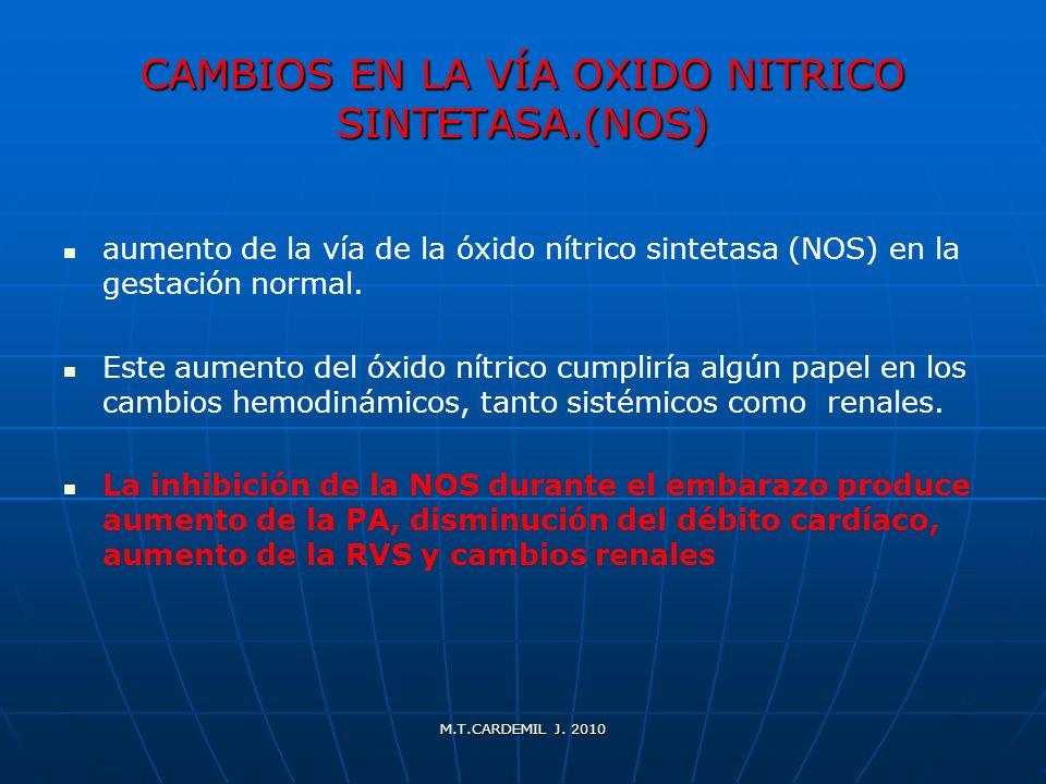 M.T.CARDEMIL J. 2010 CAMBIOS EN LA VÍA OXIDO NITRICO SINTETASA.(NOS) aumento de la vía de la óxido nítrico sintetasa (NOS) en la gestación normal. Est