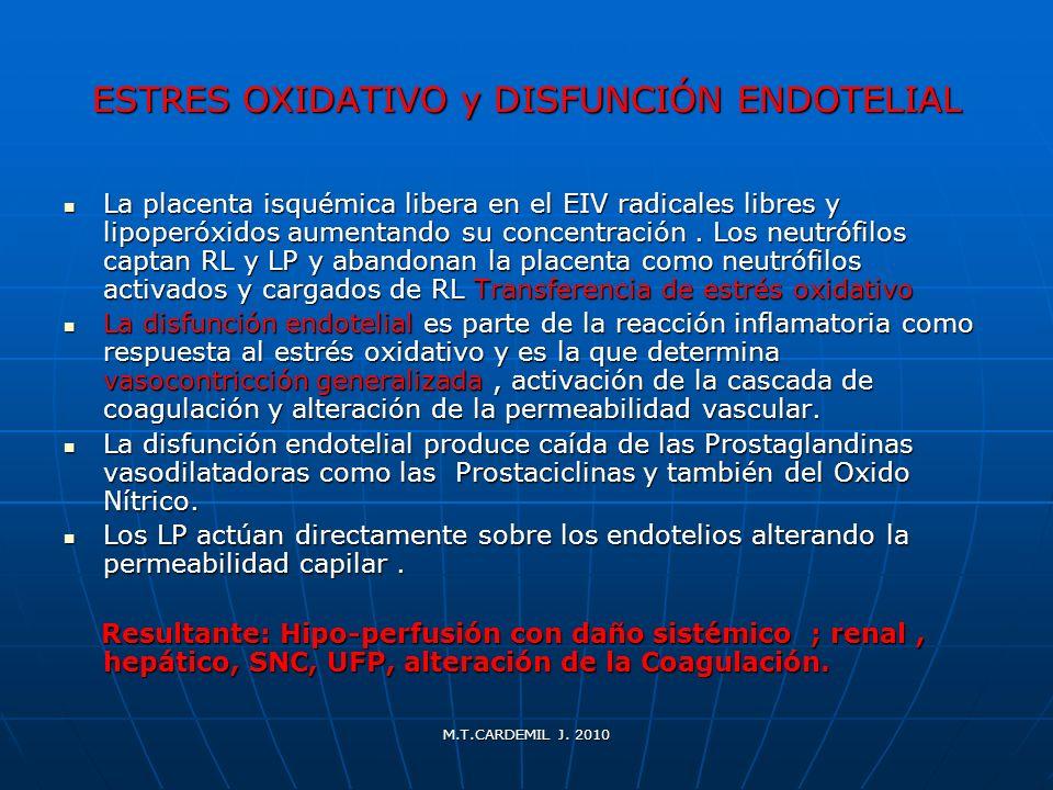 ESTRES OXIDATIVO y DISFUNCIÓN ENDOTELIAL La placenta isquémica libera en el EIV radicales libres y lipoperóxidos aumentando su concentración. Los neut