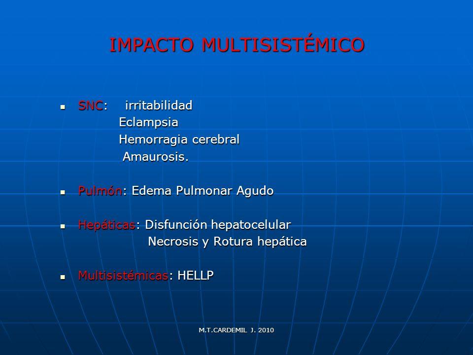 M.T.CARDEMIL J. 2010 IMPACTO MULTISISTÉMICO SNC: irritabilidad SNC: irritabilidad Eclampsia Eclampsia Hemorragia cerebral Hemorragia cerebral Amaurosi