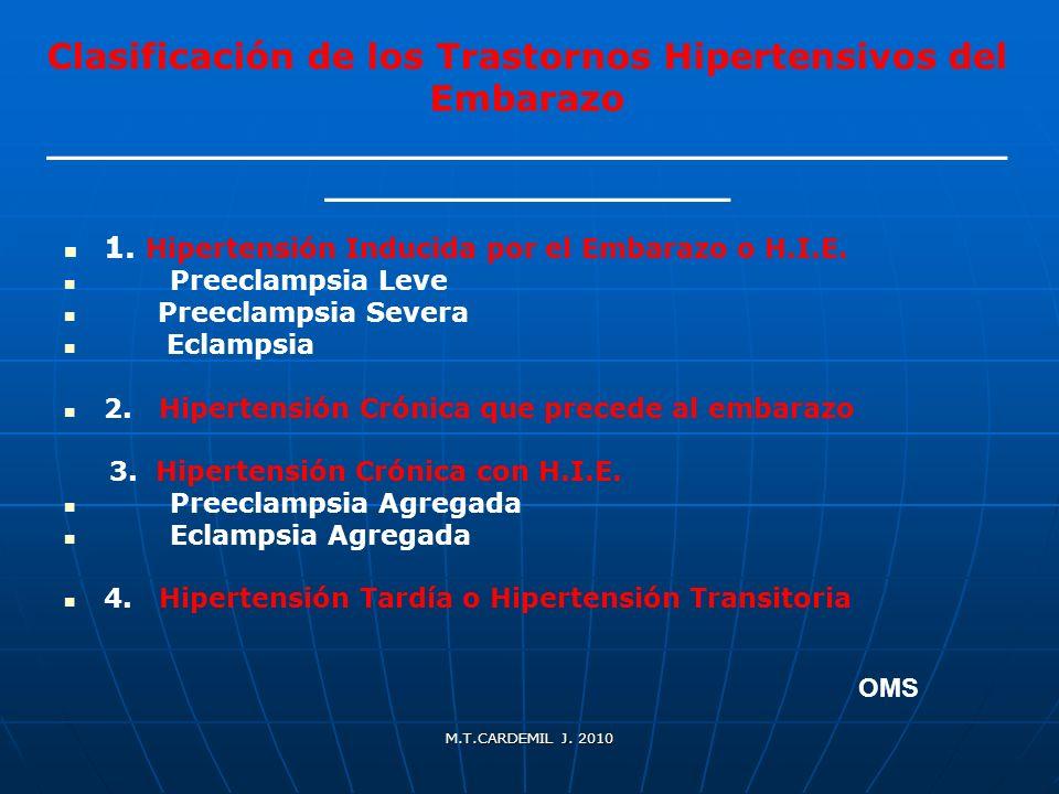 M.T.CARDEMIL J. 2010 Clasificación de los Trastornos Hipertensivos del Embarazo ______________________________________ ________________ 1. Hipertensió