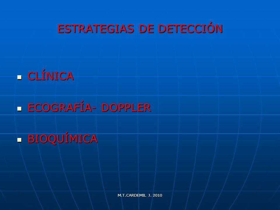 M.T.CARDEMIL J. 2010 ESTRATEGIAS DE DETECCIÓN CLÍNICA CLÍNICA ECOGRAFÍA- DOPPLER ECOGRAFÍA- DOPPLER BIOQUÍMICA BIOQUÍMICA