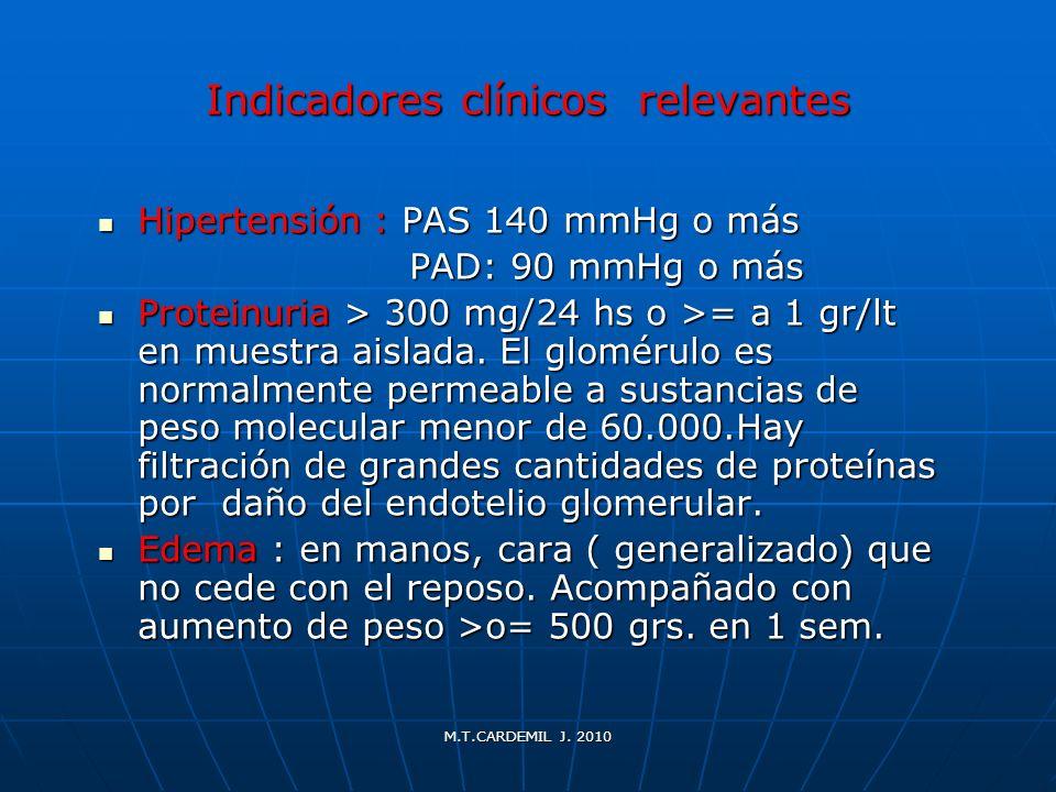 Indicadores clínicos relevantes Hipertensión : PAS 140 mmHg o más Hipertensión : PAS 140 mmHg o más PAD: 90 mmHg o más PAD: 90 mmHg o más Proteinuria