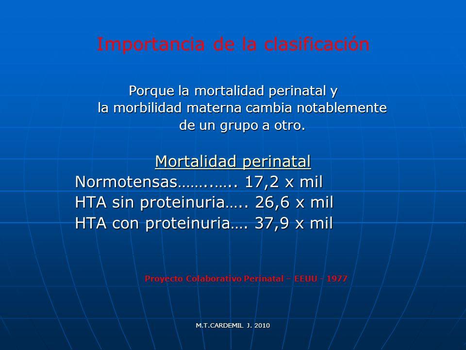 M.T.CARDEMIL J. 2010 Importancia de la clasificación Porque la mortalidad perinatal y la morbilidad materna cambia notablemente la morbilidad materna