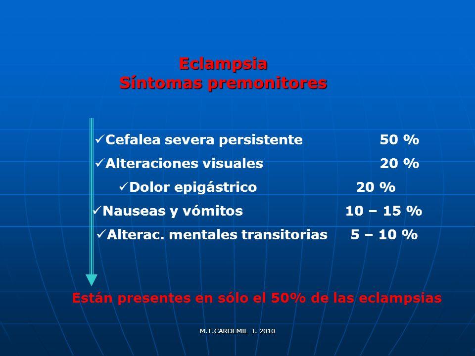 M.T.CARDEMIL J. 2010 Eclampsia Síntomas premonitores Cefalea severa persistente50 % Alteraciones visuales20 % Dolor epigástrico20 % Nauseas y vómitos
