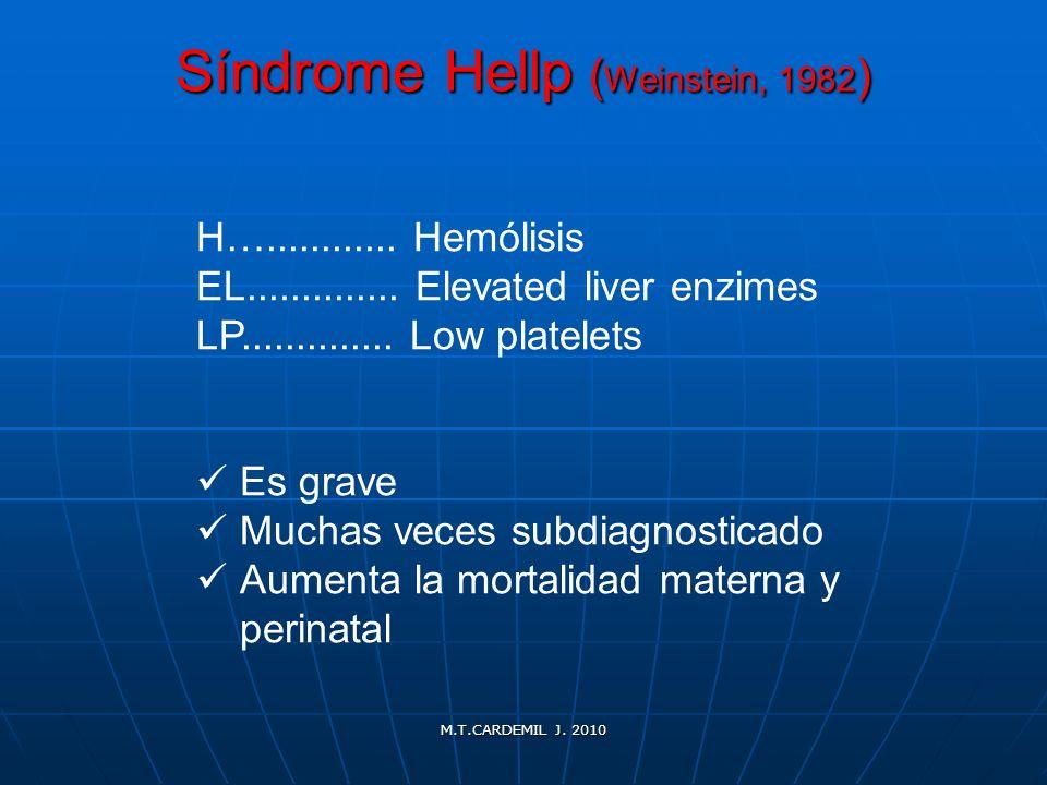 M.T.CARDEMIL J. 2010 Síndrome Hellp ( Weinstein, 1982 ) H…............ Hemólisis EL.............. Elevated liver enzimes LP.............. Low platelet