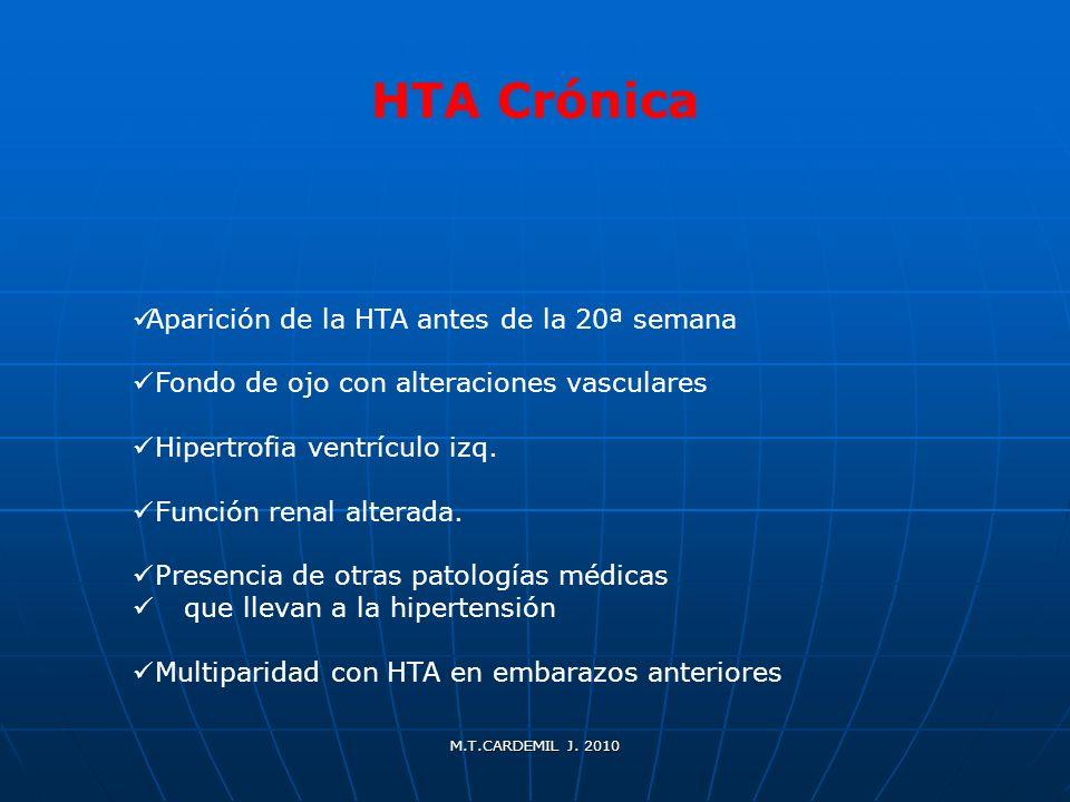 M.T.CARDEMIL J. 2010 HTA Crónica Aparición de la HTA antes de la 20ª semana Fondo de ojo con alteraciones vasculares Hipertrofia ventrículo izq. Funci