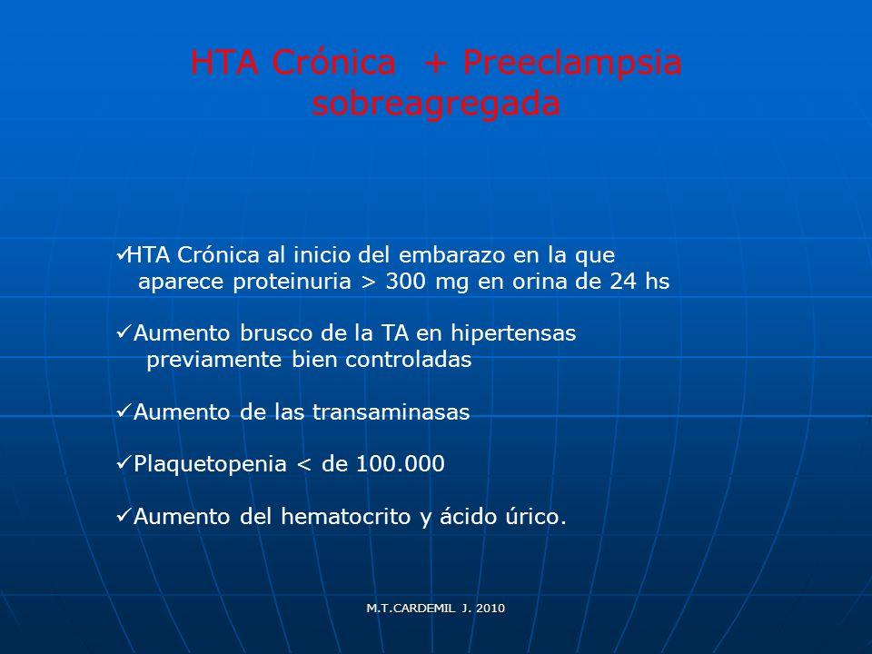 M.T.CARDEMIL J. 2010 HTA Crónica + Preeclampsia sobreagregada HTA Crónica al inicio del embarazo en la que aparece proteinuria > 300 mg en orina de 24