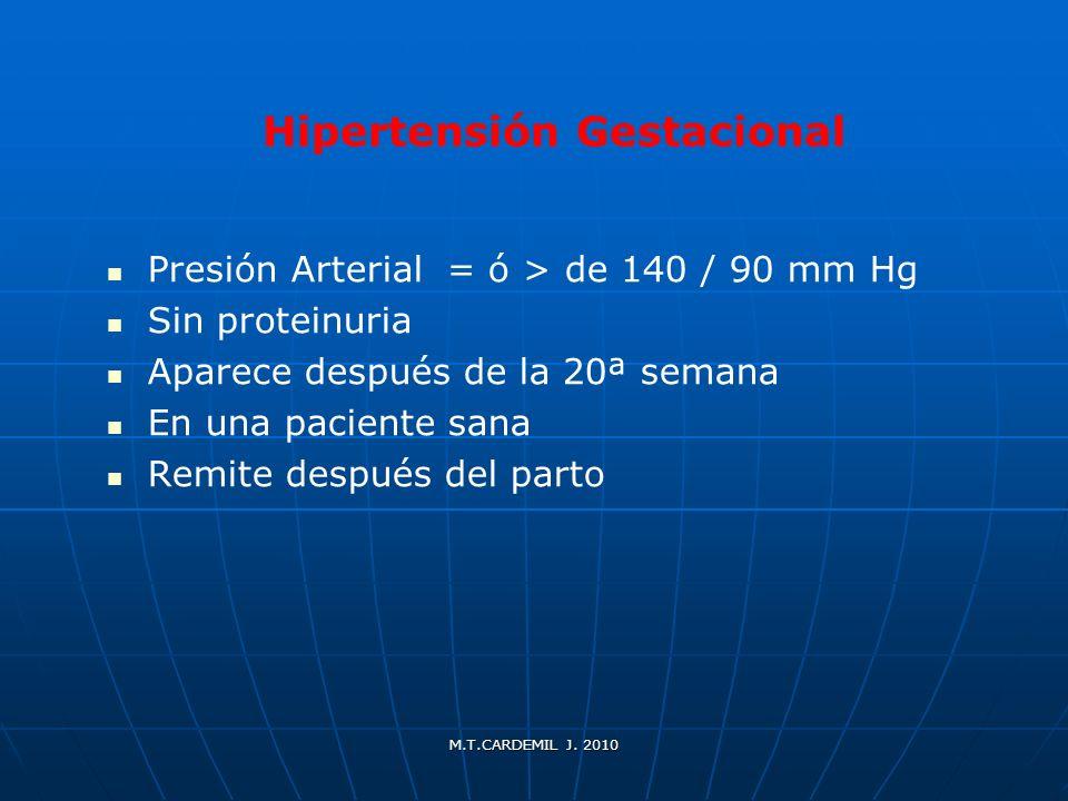 M.T.CARDEMIL J. 2010 Hipertensión Gestacional Presión Arterial = ó > de 140 / 90 mm Hg Sin proteinuria Aparece después de la 20ª semana En una pacient