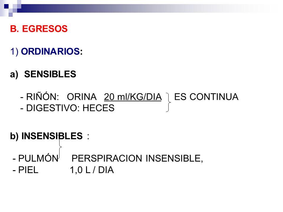 B. EGRESOS 1) ORDINARIOS: a)SENSIBLES RIÑÓN: ORINA 20 ml/KG/DIA ES CONTINUA - DIGESTIVO: HECES b) INSENSIBLES : PULMÓN PERSPIRACION INSENSIBLE, PIEL 1