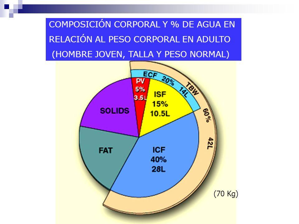 - AGUA 60% ADULTO PESO NORMAL 65% DELGADO 40 50% OBESO 70 80% LACTANTE: MAYOR VOL DEL LEC = 40%